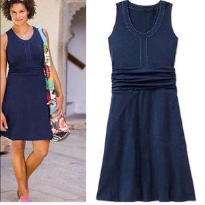Athleta XL Blue Dress KATNISS Stitched Waist